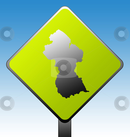Guyana road sign stock photo, Guyana map on green diamond shaped road sign with gradient blue sky background. by Martin Crowdy