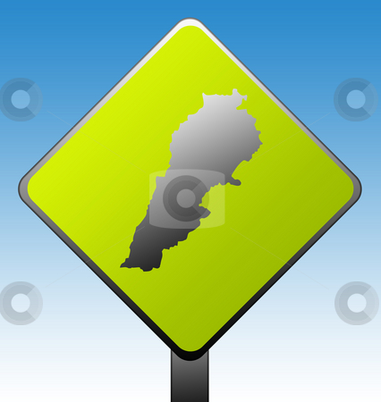 Lebanon road sign stock photo, Lebanon green diamond shaped road sign with gradient blue sky background. by Martin Crowdy