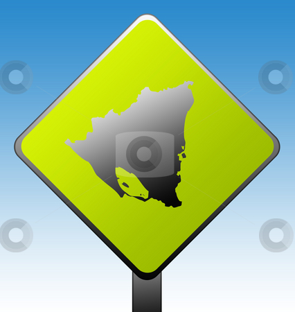Nicaragua road sign stock photo, Nicaragua map on green diamond shaped road sign with gradient blue sky background. by Martin Crowdy