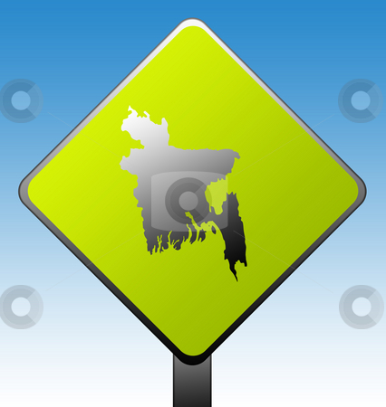 Bangladesh road sign stock photo, Bangladesh green diamond shaped road sign with gradient blue sky background. by Martin Crowdy