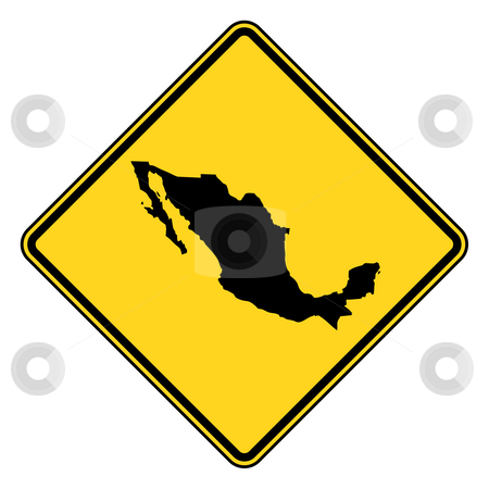 Mexico road sign stock photo, Mexico map road sign in yellow, isolated on white background. by Martin Crowdy