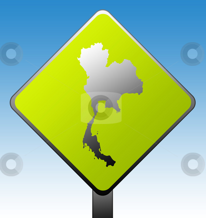 Thailand road sign stock photo, Thailand map green diamond shaped road sign with gradient blue sky background. by Martin Crowdy