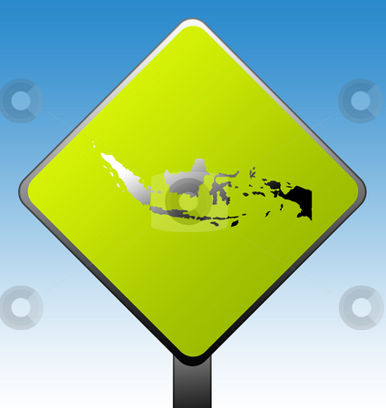 Indonesia road sign stock photo, Indonesia green diamond shaped road sign with gradient blue sky background. by Martin Crowdy