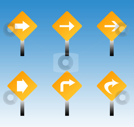 Road traffic signs stock photo, Set of six directional road traffic signs with blue sky background. by Martin Crowdy
