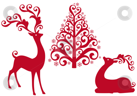 Reindeer with christmas tree, vector stock vector clipart, Red reindeer with ornamental christmas tree, vector background by Beata Kraus