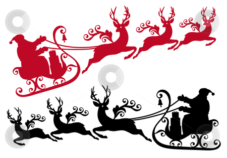 Santa with sleigh and reindeer, vector stock vector clipart, Santa with his sleigh and reindeer, vector christmas background by Beata Kraus