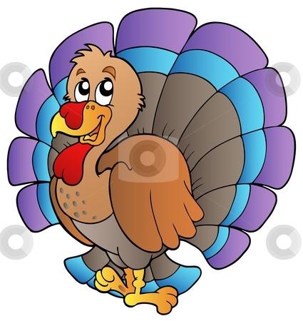 Happy cartoon turkey stock vector clipart, Happy cartoon turkey - vector illustration. by Klara Viskova