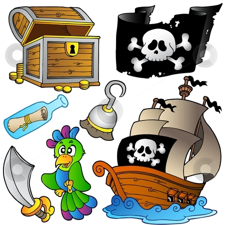 Pirate collection with wooden ship stock vector clipart, Pirate collection with wooden ship - vector illustration. by Klara Viskova