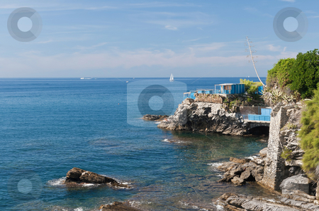 Promenade in Genova Nervi stock photo, Mediterranean  coastline in Genova Nervi, Italy by ANTONIO SCARPI