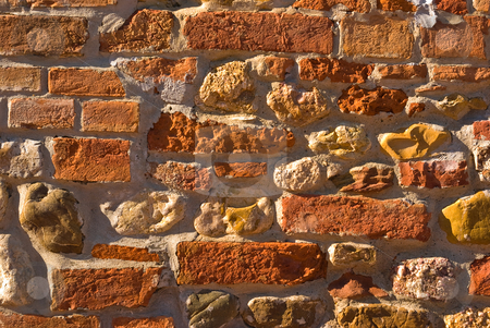 Ziegelwand - Brick wall stock photo, Ziegelwand - Brick wall by Wolfgang Heidasch
