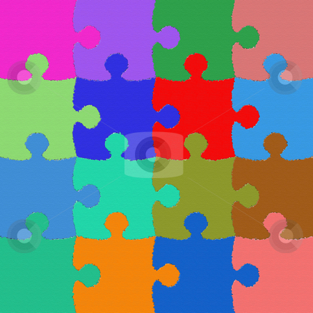 Colorful and texturized puzzle stock photo, Colorful and texturized puzzle background by Georgios Kollidas