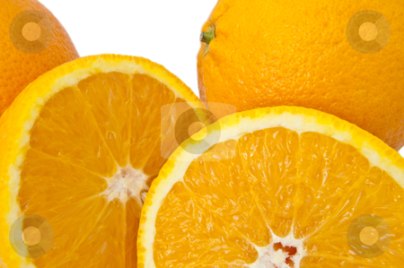 Citrus collection. stock photo, Close up of whole and cut oranges arranged over white. by Samantha Craddock