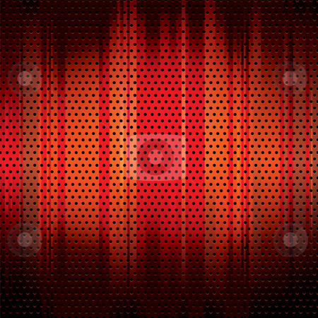Metal grid background red stock vector clipart, Red grunge metal background with round holes and copyspace by Michael Travers