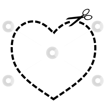 Cut out heart stock vector clipart, Heart concept with dotted line and scissors illustration by Michael Travers