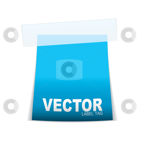Label tag icon cyan stock vector clipart, Blue paper tag with sticky tape and space for text by Michael Travers