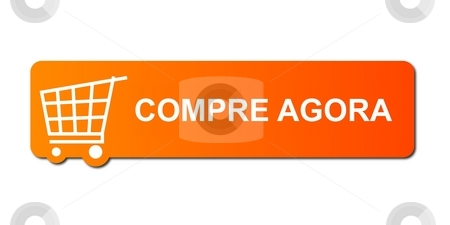 Compre Agora Orange stock photo, Compre Agora (Buy Now) button with a shopping cart on white background. by Henrik Lehnerer