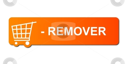 Remover Orange stock photo, Remover button with a shopping cart on white background. by Henrik Lehnerer