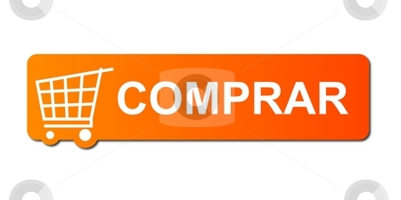Comprar Orange stock photo, Compre Agora (Buy Now) button with a shopping cart on white background. by Henrik Lehnerer