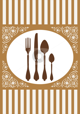 Menu of restaurant card, vector illustration stock vector clipart, Place setting with fork, spoon and knife and ornaments. Full scalable vector graphic included Eps v8 and 300 dpi JPG. by Ela Kwasniewski