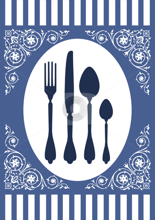 Menu of food card stock vector clipart, Place setting with fork, spoon and knife and ornaments. Design for food or restaurant menu card on a blue background. Full scalable vector graphic by Ela Kwasniewski