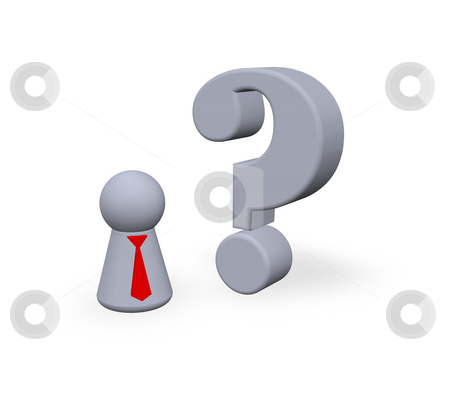 Question stock photo, Play figure with tie and question mark - 3d illustration by J?