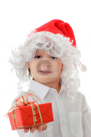 Child in a hat santa claus stock photo, The child in a hat santa claus isolated on white background by Salauyou Yury