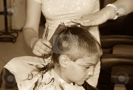 Boy  haircut stock photo, Caucasian boy getting a haircut sepia tones by Julija Sapic