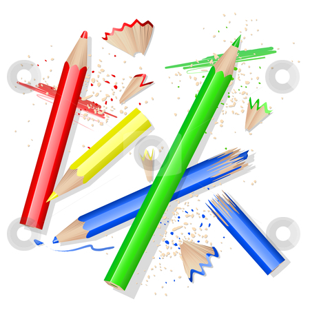 Colors pencils stock vector clipart, Color pencils and peels over white by Laurent Renault