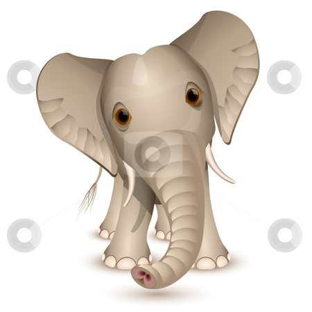 Little elephant stock vector clipart, Little elephant isolated on white by Laurent Renault