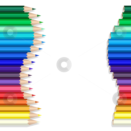 Color pencils wave stock vector clipart, Color pencils making a wave over white by Laurent Renault