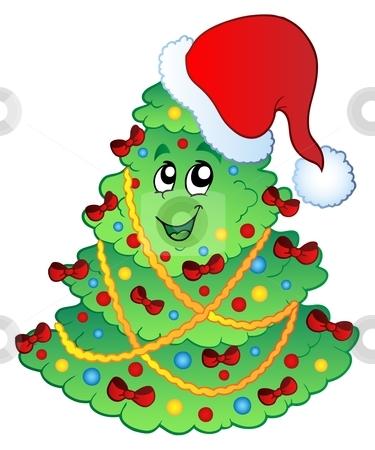 Decorated Christmas tree 2 stock vector clipart, Decorated Christmas tree 2 - vector illustration. by Klara Viskova