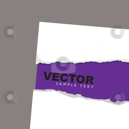Torn paper reveal purple stock vector clipart, Purple card background with white paper torn edges by Michael Travers