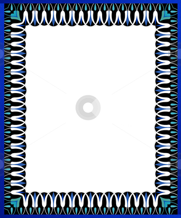 Blue swirl border stock photo, Border for scrapbook and collage crafts by Todd Amen