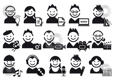 Creative people icons stock vector clipart, Creative people and artist icons, vector set by Beata Kraus