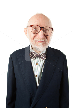 Obnoxious Senior Man stock photo, Obnoxious Senior Man with Bow Tie on White Background by Scott Griessel