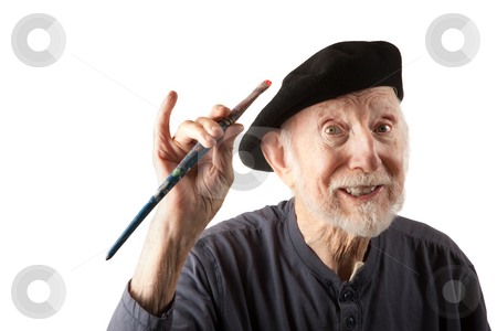 ba8278b674b85 Senior artist with beret and brushes stock photo