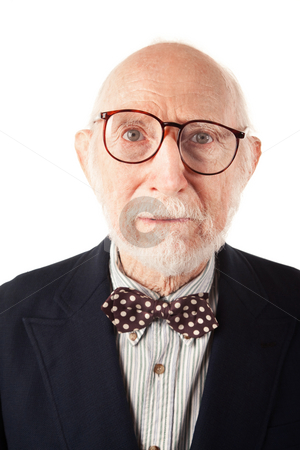 Expressive Senior Man stock photo, Expressive Senior Man with Bow Tie on White Background by Scott Griessel