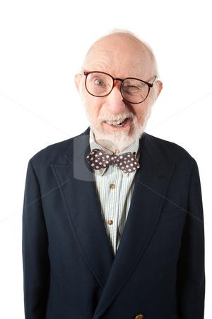 Obnoxious Senior Man stock photo, Obnoxious Senior Man with Bow Tie on White Background by Scott Griessel