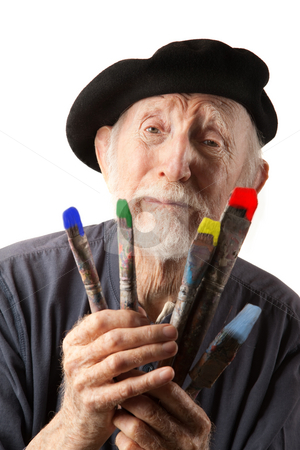 Senior artist with beret and brushes stock photo, Eccentric senior artist with brushes wearing a beret by Scott Griessel