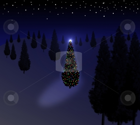 Christmas Tree Blue stock photo, Xmas tree with lights standing in the forest and start background by Henrik Lehnerer