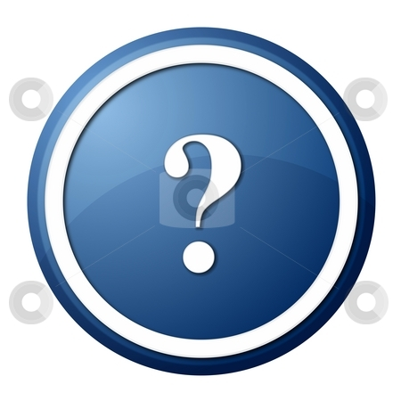 Blue question mark round button stock photo, Round question mark button with white ring for web design and presentation by Henrik Lehnerer