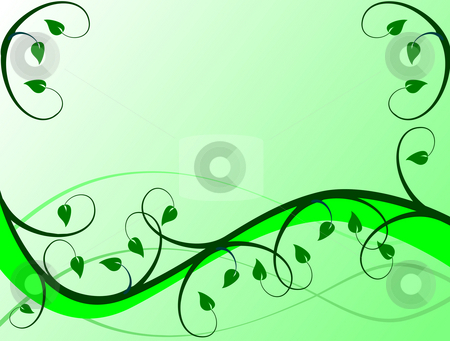 An abstract green floral vector background  stock photo, An abstract green floral vector background illustration in landscape orientation with room for text by Mike Price