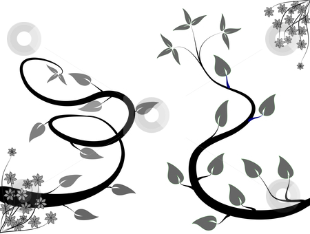 A black and white abstract floral background stock vector clipart, A black and white abstract floral background illustration with winding black and grey vines on a white background background in landscape orientation by Mike Price