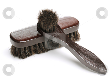 Shoe brushes stock photo, Brushes used for shoe care: Shoe dauber for applying the polish and a shoe polishing brush. by Stocksnapper