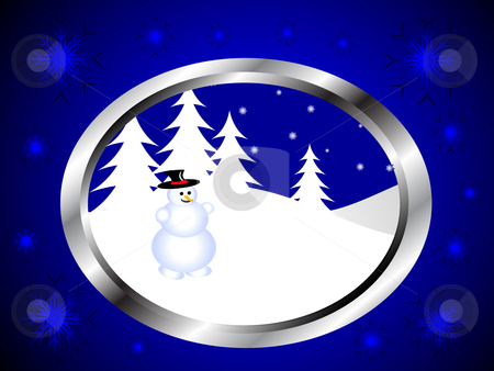 A christmas winter snowman scene  stock vector clipart, A christmas winter snowman scene in a silver frame on a blue background by Mike Price