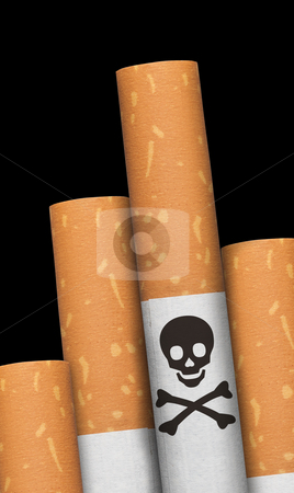 Skull and crossbones in cigarette.  stock photo, Skull and crossbones hazzard sign in cigarettes. by Pablo Caridad