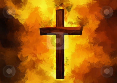 Flaming Cross Christian Art stock photo, Flaming Cross Christian ArtCan be canvas or paper printed. by Snap2Art