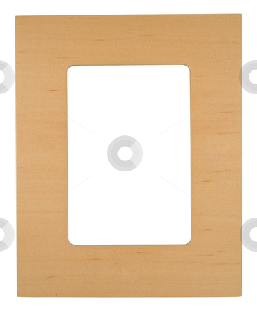 Wooden photo frame stock photo, Wooden photo frame on a white background with copy space by Jo De Vulder