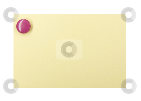 Pushpin on a yellow note stock photo, Purple pushpin holding up a yellow note on a white background by Jo De Vulder