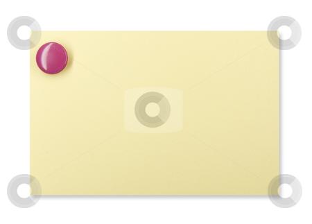 Pushpin on a yellow note stock photo, Purple pushpin holding up a yellow note by Jo De Vulder